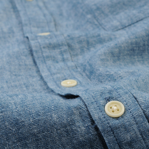 Summer Linen Chambray LS Shirt in Blue