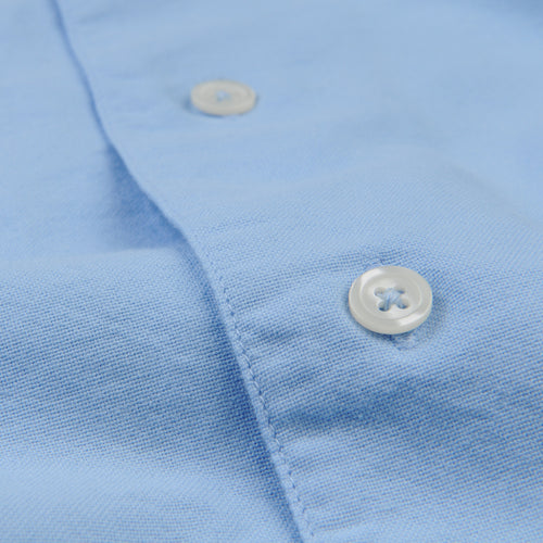 Open Collar Shirt in Sky Blue Oxford
