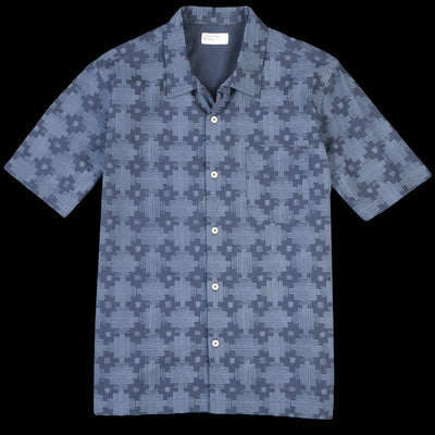 Universal Works - Road Shirt in Navy Aztec Print Poplin