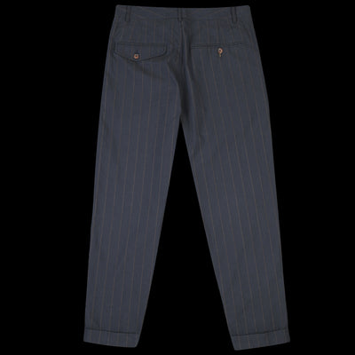 Universal Works - Pleated Pant in Navy Raised Pinstripe
