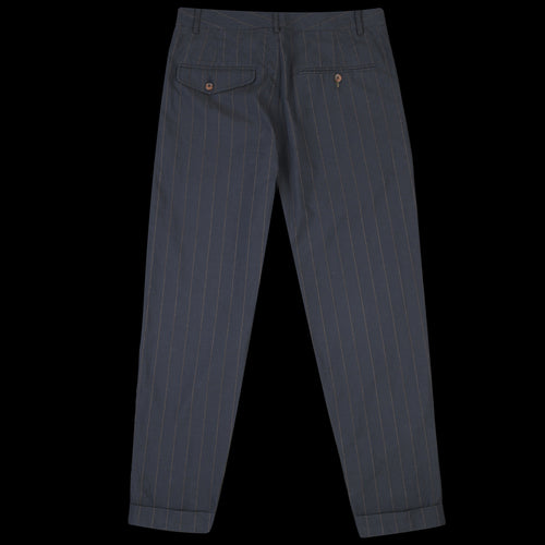 Pleated Pant in Navy Raised Pinstripe