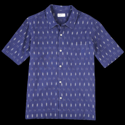 Universal Works - Road Shirt in Navy Ikat Lines