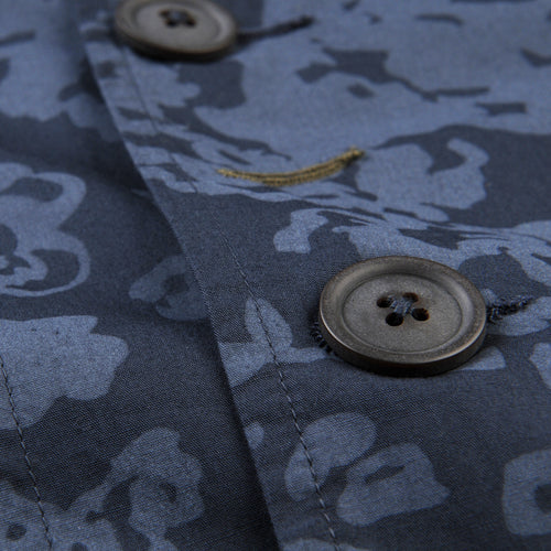 Bakers Jacket in Navy Flower Print Poplin