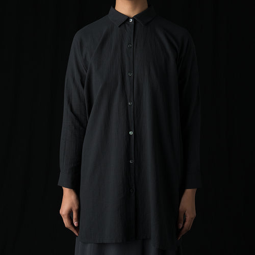 Crepe Cotton Square Shirt Tunic in Sumi