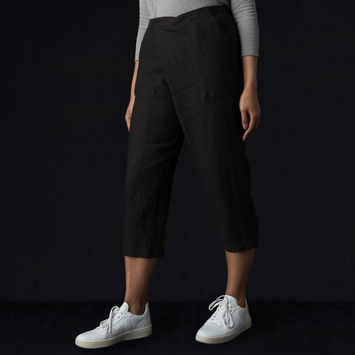 Linen Twill Wrap Pant in Sumi
