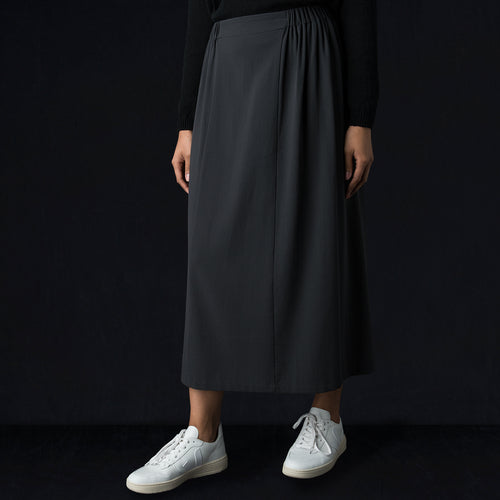 Cotton Double Side Gather Skirt in North Sea