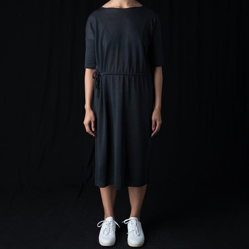 High Gauge Linen Drawstring One Piece Dress in Sumi
