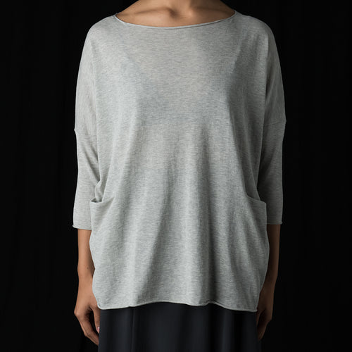 Vie High Twist Cotton Pullover in Light Grey