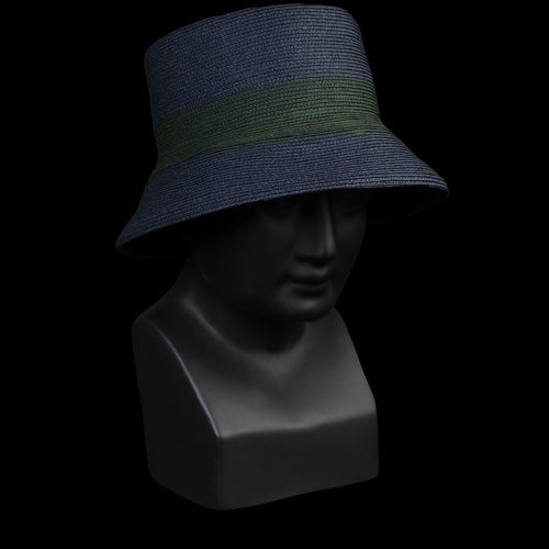 Deejay Toyo Bucket Hat in Midnight with Olive Stripe