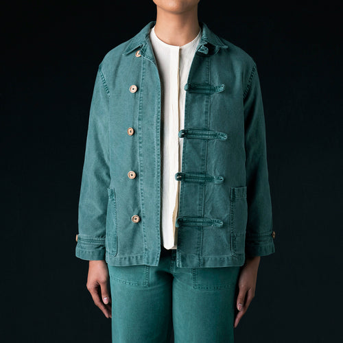 Aaron Jacket in Green Twill