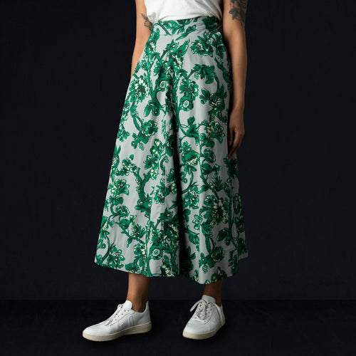 Malva Skirt in Green Vine Floral