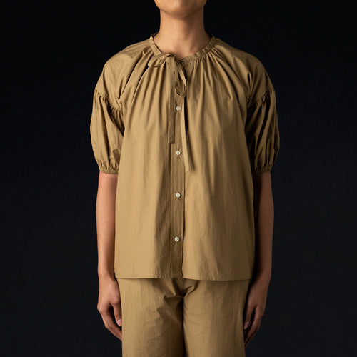 Isola Top in Khaki Cotton Poplin