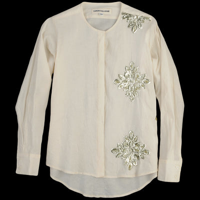 Caron Callahan - Mia Button Up in Muslin Applique