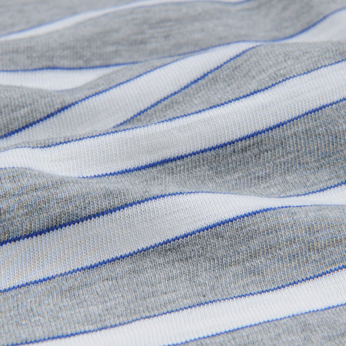 Tri Color Stripe Tee in Heather Grey Off White & Cobalt