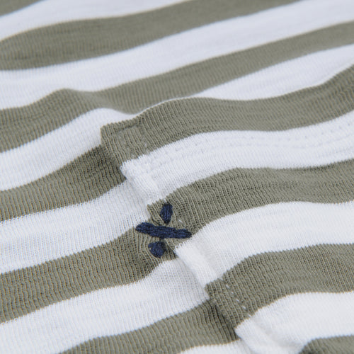 Even Stripe Tee in White & Military Green