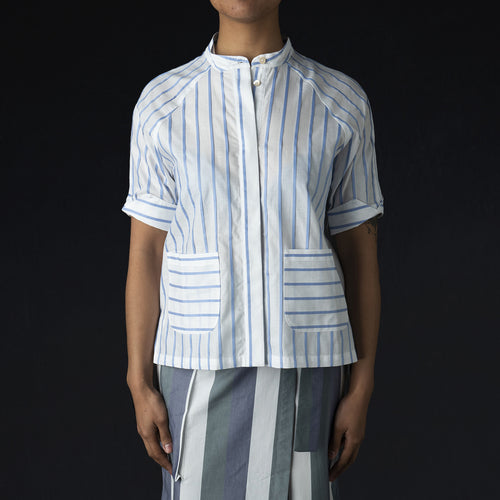 Nila Blouse in Blue Stripes