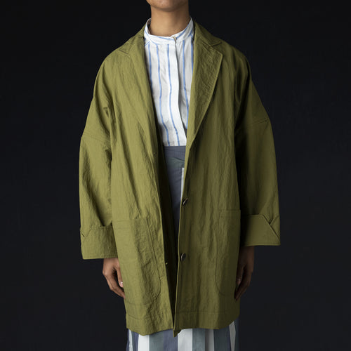 Buru Oversized Coat in Moss