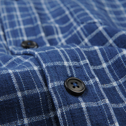 Kabir Sport Shirt in Indigo Plaid
