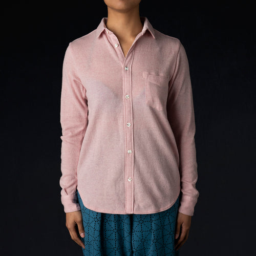 Lamb Wool Jersey Shirt in Pink