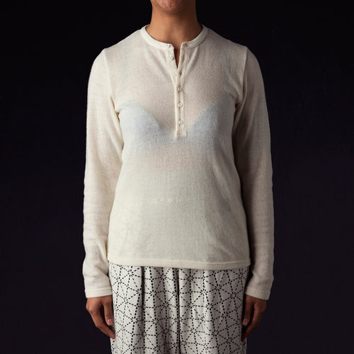Lamb Wool Jersey Henley in White