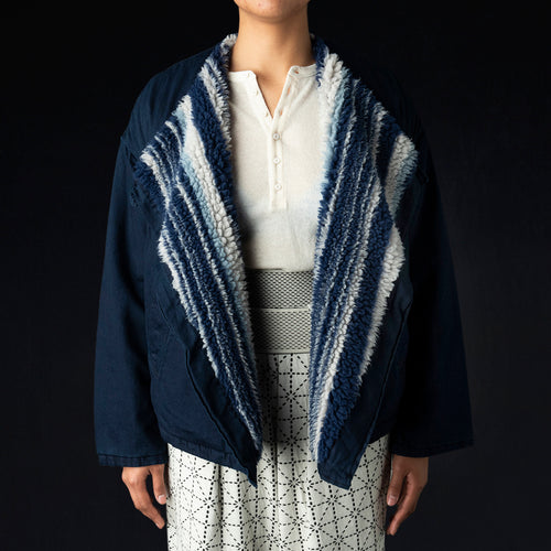 8oz IDGIDG Denim x Primal Stripe Boa Fleecy Shepherd Cape Bolero in Indigo