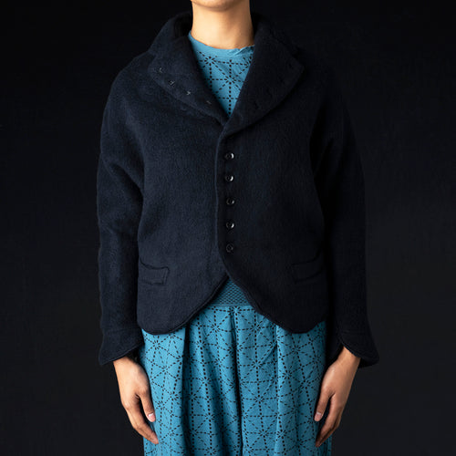 Shaggy Melton Wool Dolman Sleeve Jacket in Navy