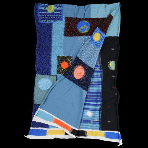 Compressed Wool COSMIC GABBEH Scarf in Blue
