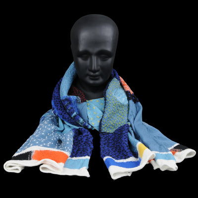 Kapital - Compressed Wool COSMIC GABBEH Scarf in Blue