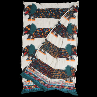Kapital - Compress Wool OCHO DACHSHUNDS Scarf in White