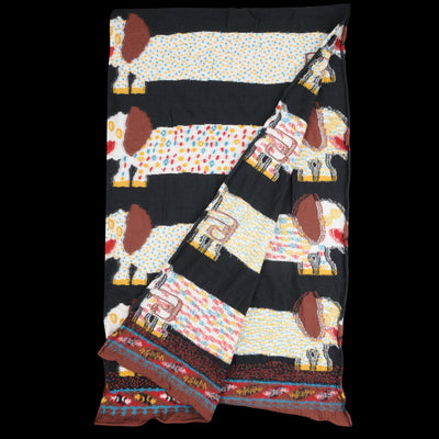 Kapital - Compress Wool OCHO DACHSHUNDS Scarf in Black