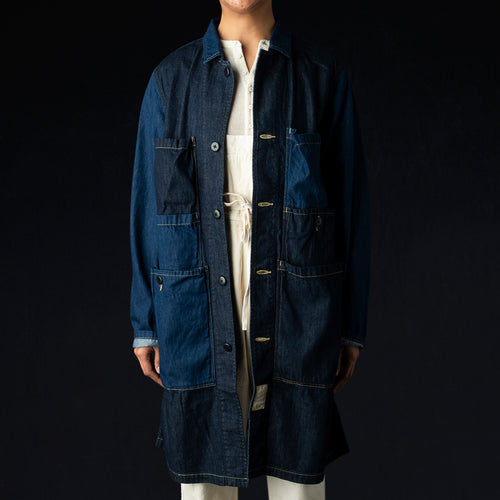 8oz Denim 2 Tone OSECHI Coat in Indigo