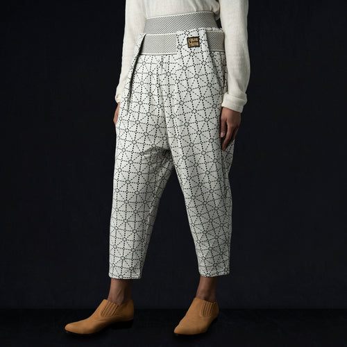 DO-GI Sashiko Jersey SHIMOKITA Cropped Pant in Ecru