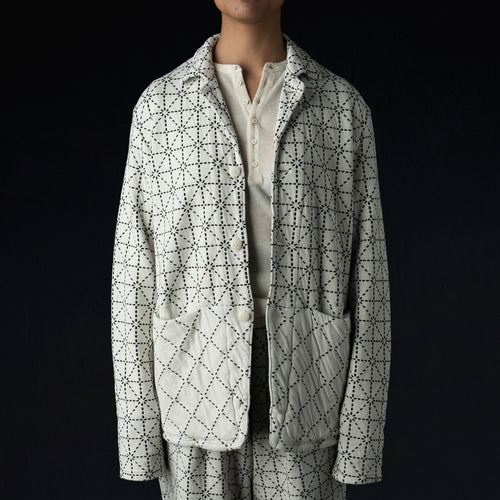 DO-GI Sashiko Jersey Coverall in Ecru