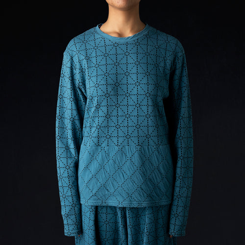 DO-GI Sashiko Jersey Crew Long Sleeve Tee in Blue