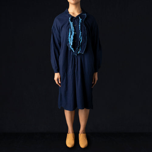 IDG Gauze BROCCOLI HIYOKU Pullover Dress in Indigo