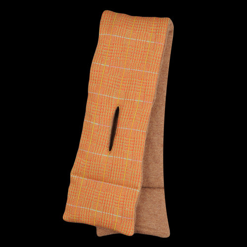 Tweed Fleecy Knit x Lamb Wool KESA Scarf in Orange