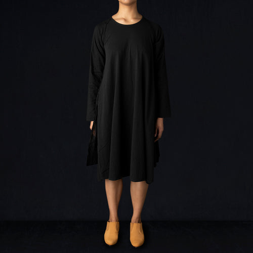 18.5/- Jersey x Single Gauze ISLA OLIVE Dress in Black