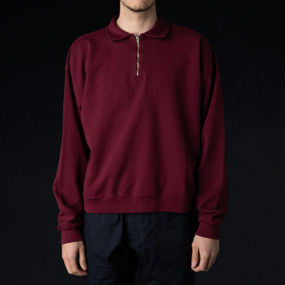 Monitaly - Cropped Half Zip Sweat in Maroon