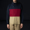 Monitaly - L/S Paneled Mock Neck Pullover in Vancloth Oxford Navy Maroon & Khaki