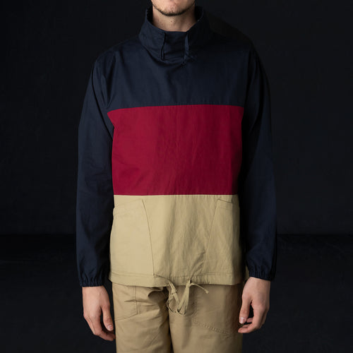L/S Paneled Mock Neck Pullover in Vancloth Oxford Navy Maroon & Khaki