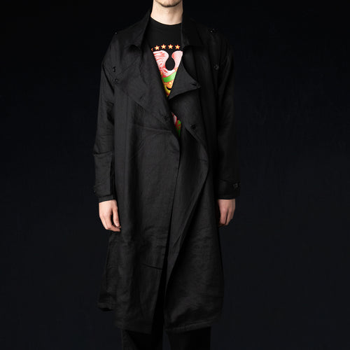 Spring Coat in Light Linen Black