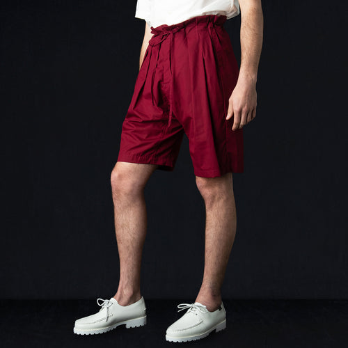 Drop Crotch Short in Vancloth Oxford Maroon