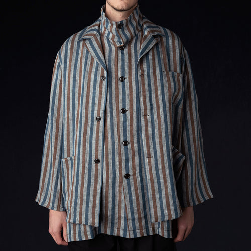 Italian Jail Jacket in Light Linen Stripe