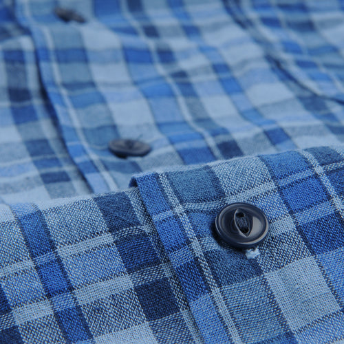 Cotton Madras Vacation Shirt in Storm Blue