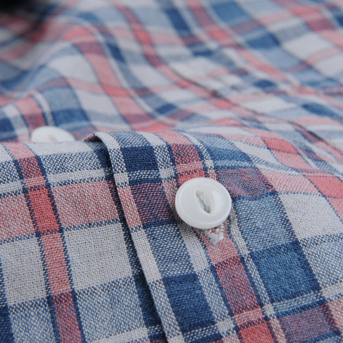 Cotton Madras Vacation Shirt in Tea