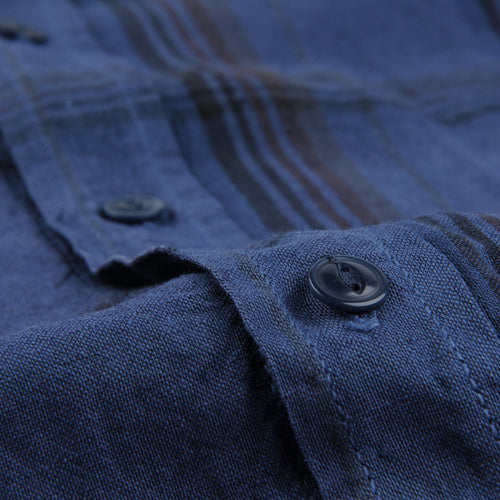 Cotton Linen Madras Easy Shirt in Blue