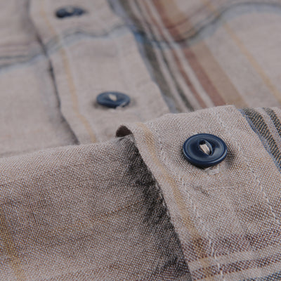 Save Khaki - Cotton Linen Madras Easy Shirt in Coffee