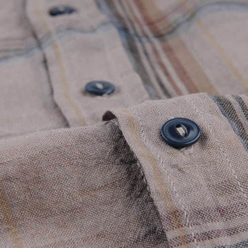 Cotton Linen Madras Easy Shirt in Coffee