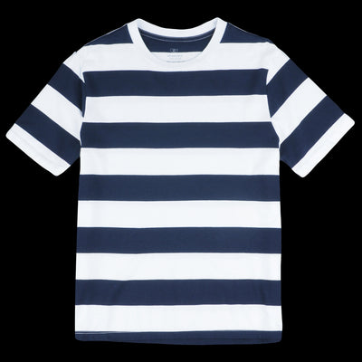 Save Khaki - Rugby Stripe Crew Tee in White