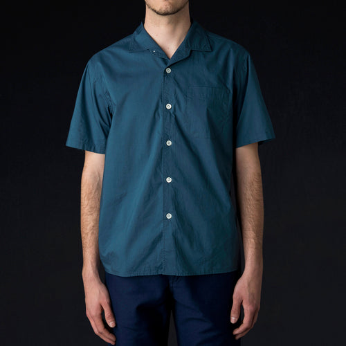 Pyjama Shirt in Blue Poplin